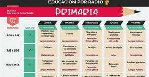 Programación de Clases por Radio Educativa del 12 al 16 de octubre