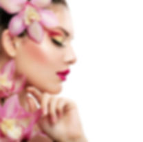 Magenta flower and makeup woman.jpg
