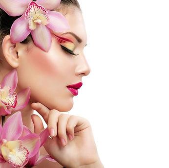 Magenta flower and makeup woman.jpg