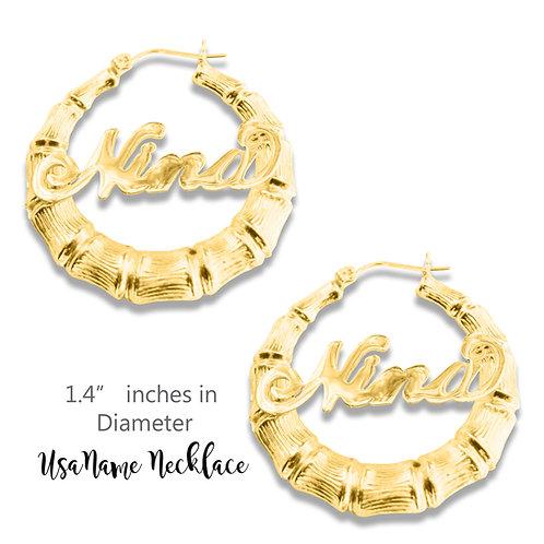 UsaNameNecklace, Bamboo Name Earrings, Name Earrings, Custom Name Jewelry,gold,  Round Bamboo name earrings