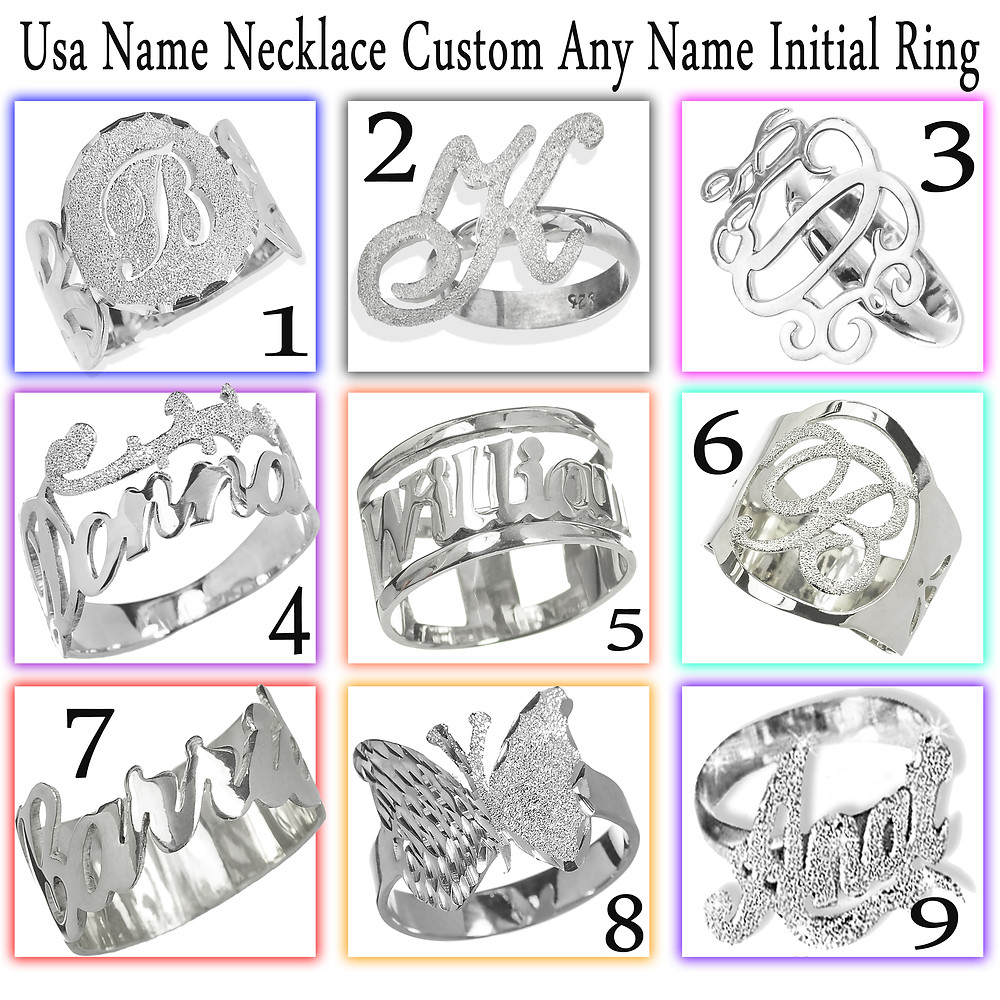 Usa Name Necklace , Name Ring , Personalized Rings , Silver Name Ring , United States Name Necklace ,