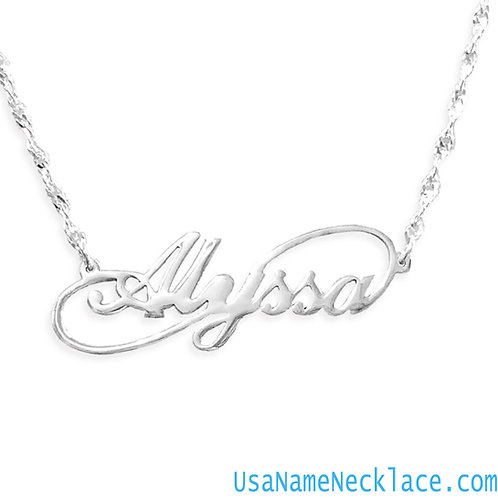 Personalized Sterling Silver Infinity Name Necklace | Usa Name Necklace | UsaInfinityNecklace