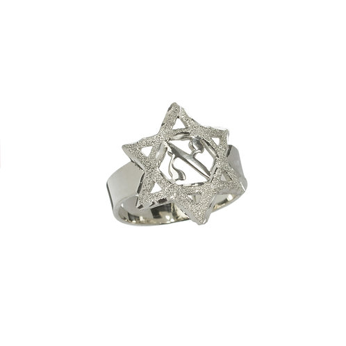 Personalized Star Of David Initiel Ring - Pure Sterling Silver 0.925