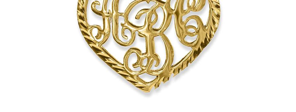 Personalized 18K Gold Plated - Heart Monogram Necklace