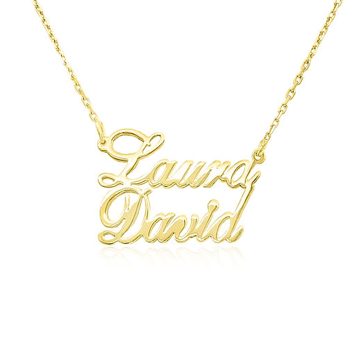 Two Name Necklace, Gold Name Necklace, Usa Name Necklace , Name Jewelry , Us Name Necklace