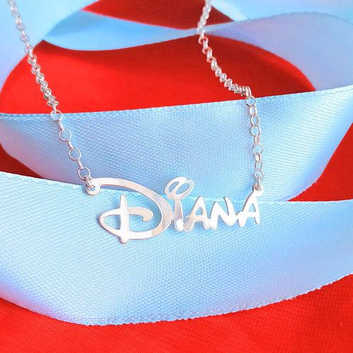 Personalized Disney Name Necklace in Sterling Silver, USA NAME NECKLACE
