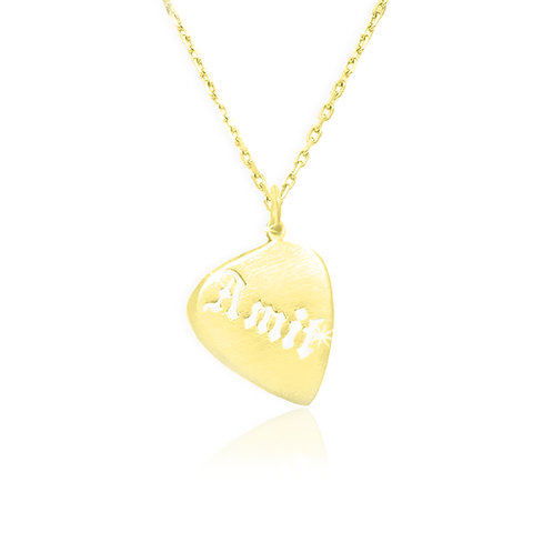 USA NAME NECKLACE | Guitar Pick Name Necklace in 18K Gold plated
