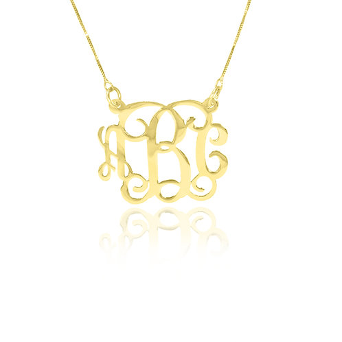 Personalized 18K Gold -Plated Monogram Necklace. 1.2""