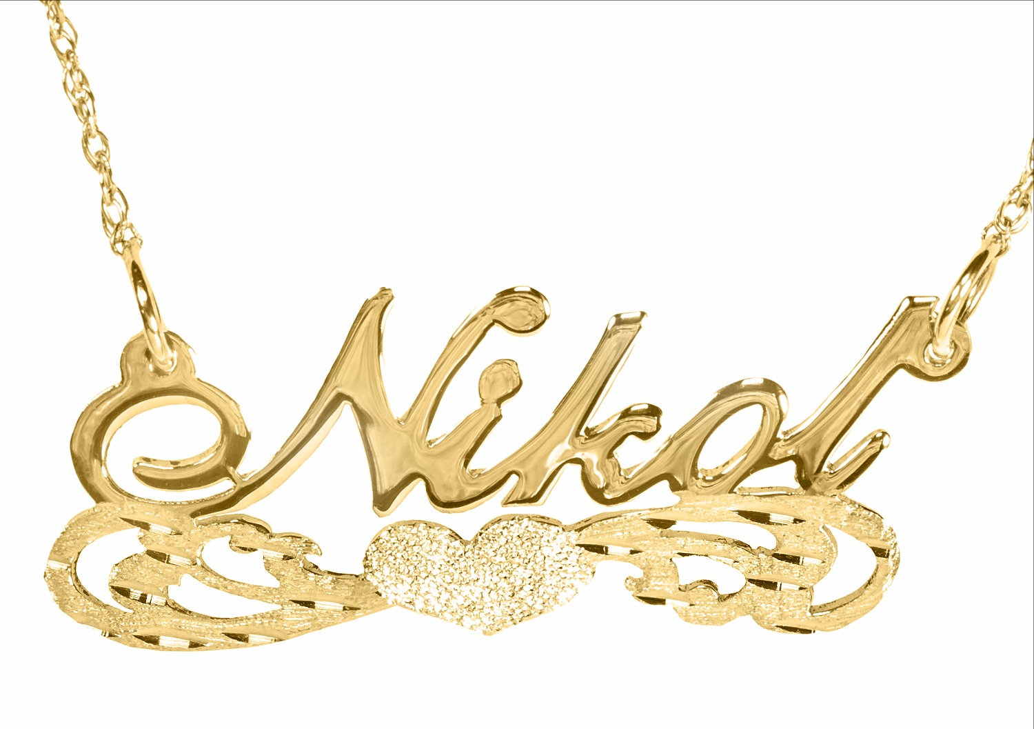 Personalized Name Necklace 14k Solid Yellow Gold Underline Heart