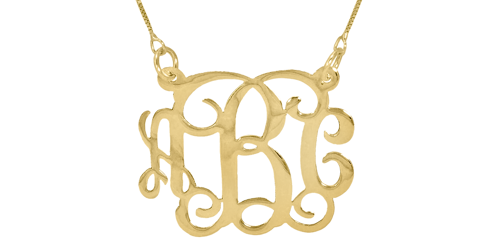 """Personalized 18K Gold -Plated Monogram Necklace. 1.2"""""""