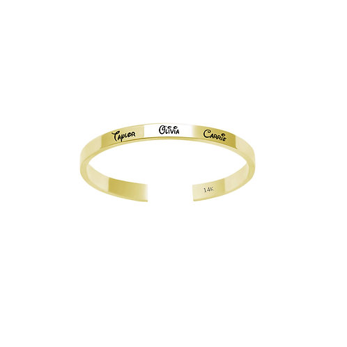 """Personalized 2 m""""m Name Ring in 14K Solid Gold"""