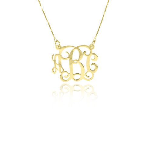 Personalized Small Monogram Necklace Gold Plated