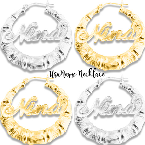 6793d6a3e Personalized Sterling Silver 925 Round Bamboo Name Earrings