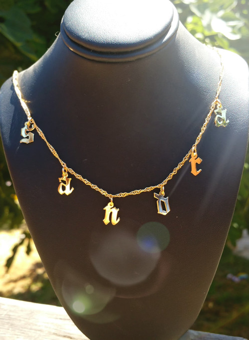 a1f6cde15afea8 Personalized Choker Name Necklace , 24K Gold Plated , Choker initial's  Necklace