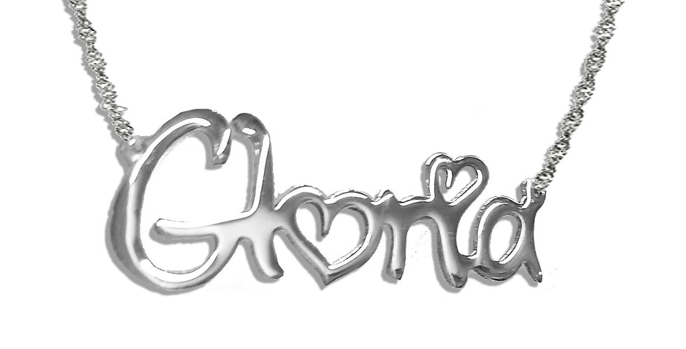 Custom Name Necklace In Sterling Silver