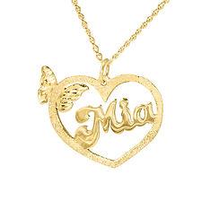 Heart Name Necklace, Name Necklace, Usa Name Necklace