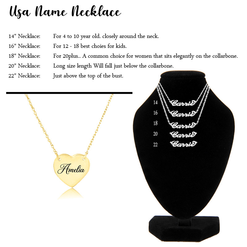 Chain Length Size, Usa Name necklace Chain Length Size chart, Chain Length calculator