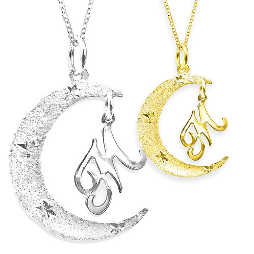 UsaNameNecklace.com. Name Necklace. Moon Necklace. Moon name necklace, personalized moon name necklace,