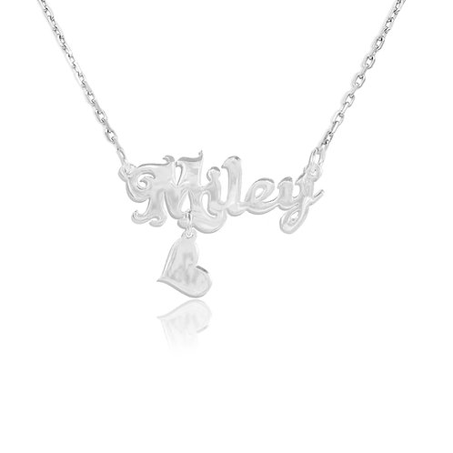Personalized Sterling Silver Name necklace & Heart . Usa Name Necklace