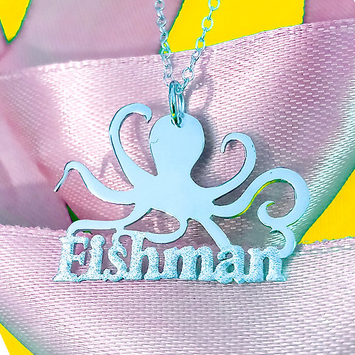Personalized Octopus Name necklace, USA Name necklace