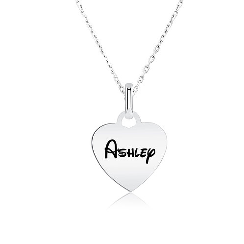 Engraved  Heart Name Necklace 14K White Gold