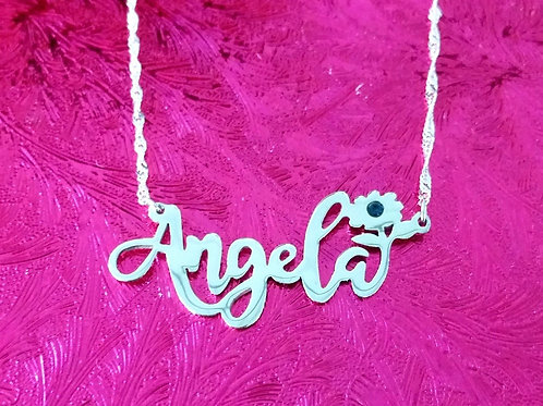 Custom Sterling Silver Name Necklace with Flower