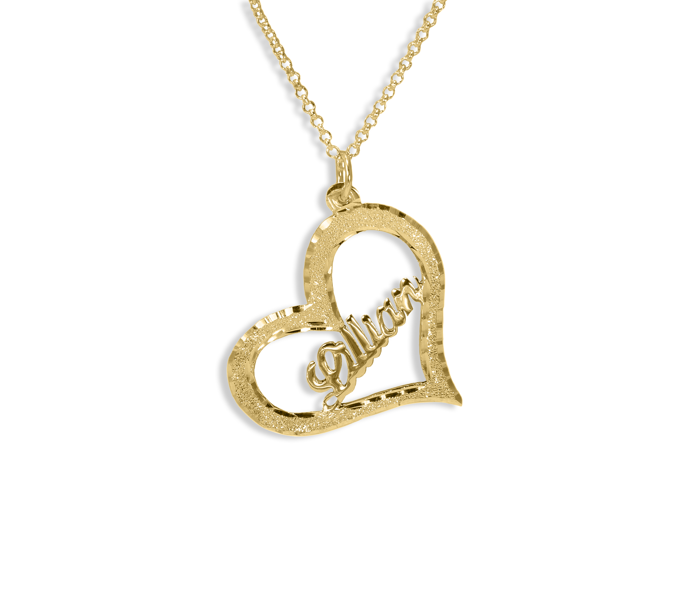 d6f98eb7c96bb Personalized 14K Solid Gold Heart Name Necklace
