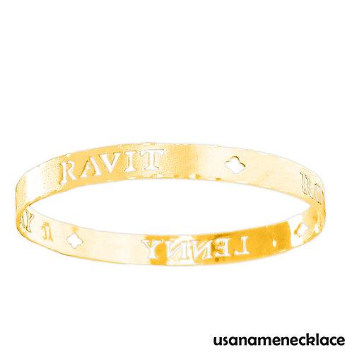 Personalized Name Bangle Bracelet, 18k Gold Plated
