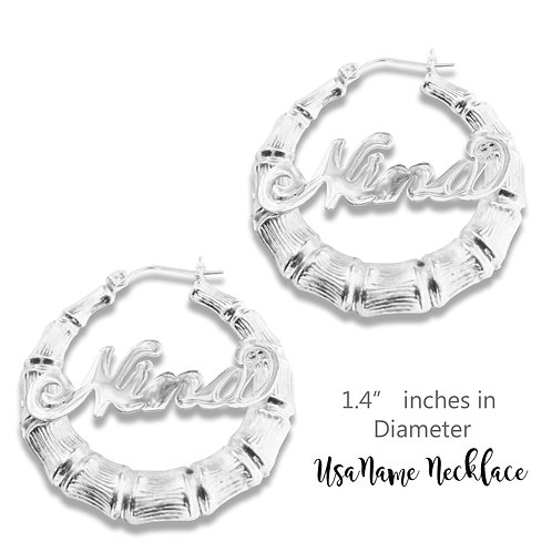 UsaNameNecklace Bamboo Name Earrings, Name Earrings, Custom Name Jewelry, Round Bamboo name earrings