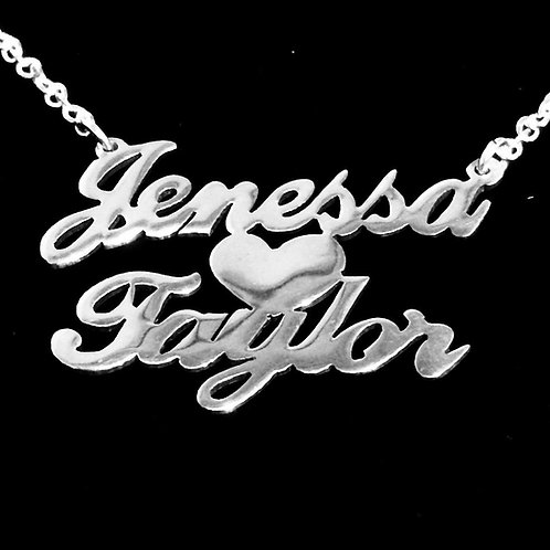Custom Couple's Name Necklace with Heart