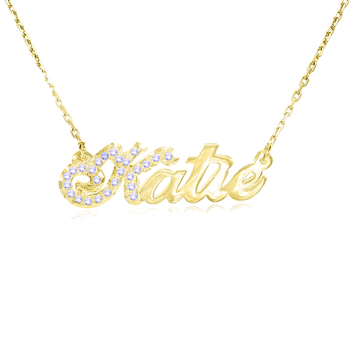 USA Name Necklace , Cubic Zirconia Gold name necklace | Personalized Name Necklace