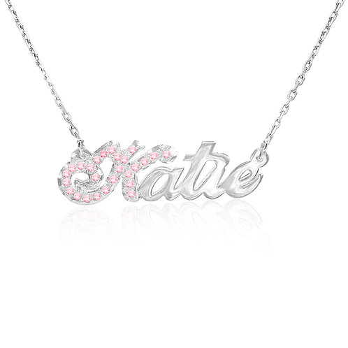 Personalized Sterling Silver CZ Name necklace. Usa Name Necklace