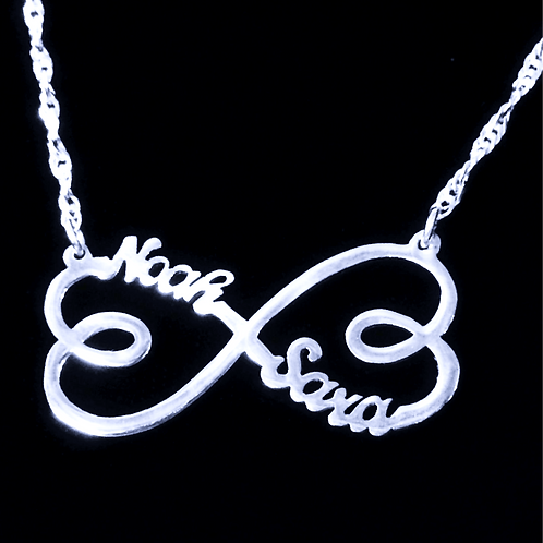 Custom Infinity Heart Name Necklace in Silver