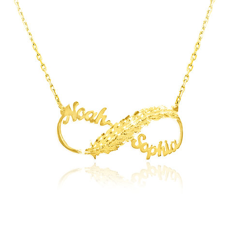 Personalized Infinity Two Name Necklace 14K Gold