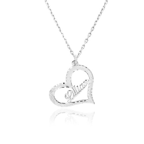 UsaNameNecklace, Heart Name Necklace, Personalized jewelry,