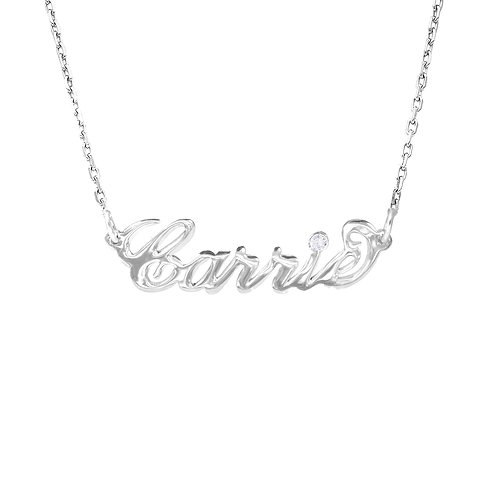 Usa Name Necklace | Silver carrie name necklace, Name Necklace