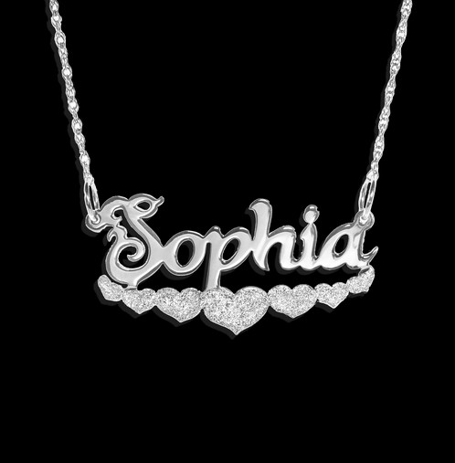 Personalized heart name necklace usa name necklace name personalized 7 hearts name necklace custom name necklace usanamenecklace com aloadofball Choice Image
