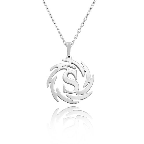 Personalized Circle Initial Necklace 14K White Gold