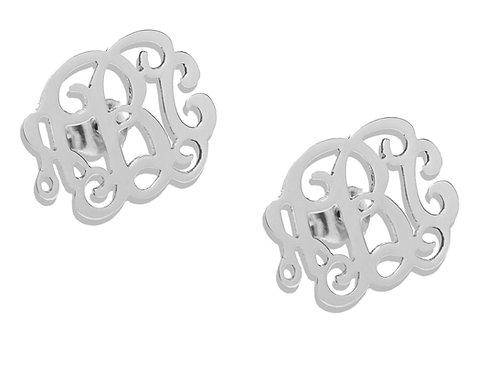 Name Earrings, Silver Stud Name Earrings, Custom Name Earrings, Monogram Earrings, usa name necklace