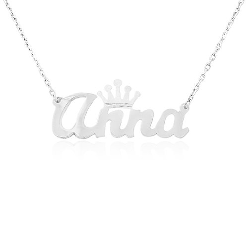 Crown Name Necklace, Usa Name Necklace, Name Necklace . Crown Necklace