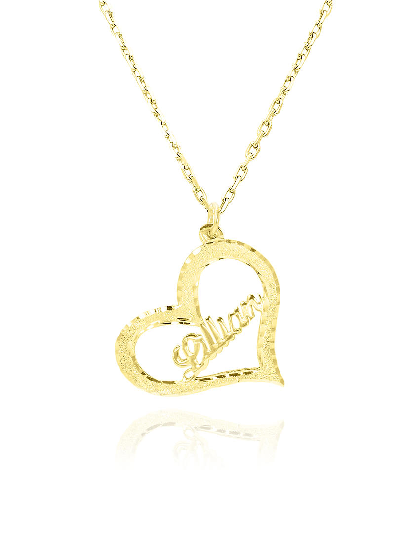 Heart Name Necklace, 14K Solid Gold