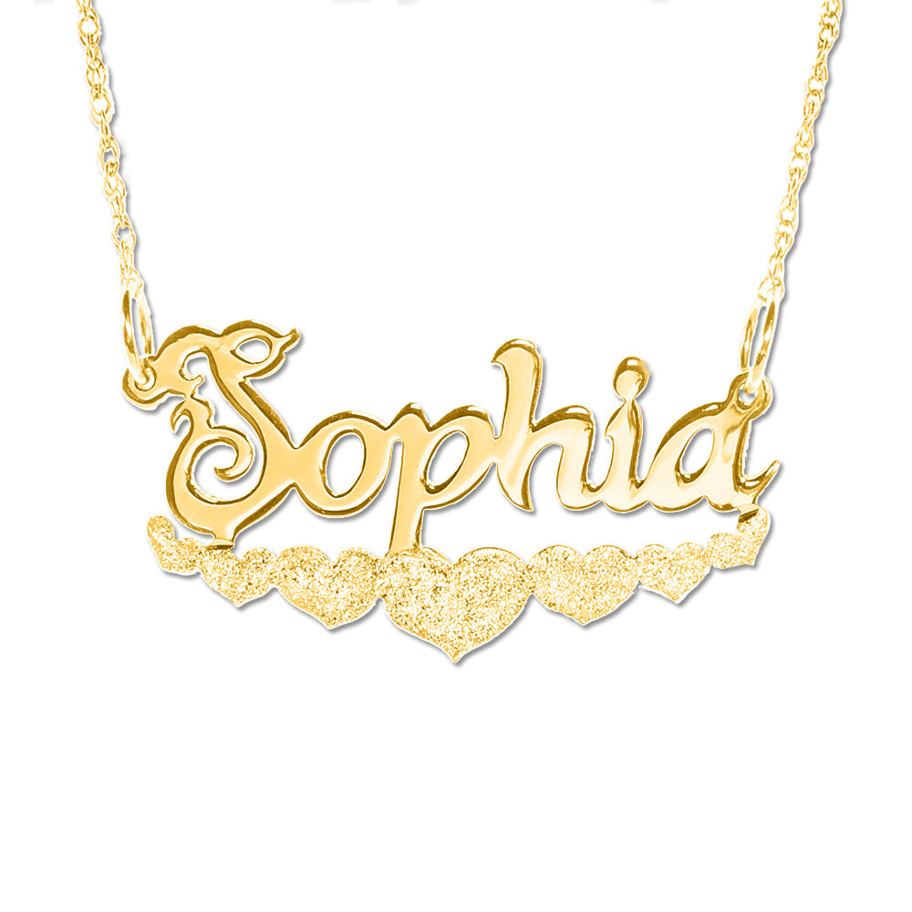 0675d4d4d3731 Personalized 18K Gold Plated Sparkling Hearts Name Necklace