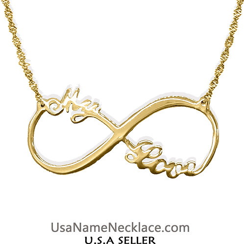 Usa Name Necklace | Infinity Name Necklace | Custom Infinity Necklace