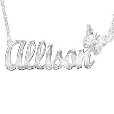Personalized Butterfly Name Necklace, my Name Necklace, Usa Name Necklace