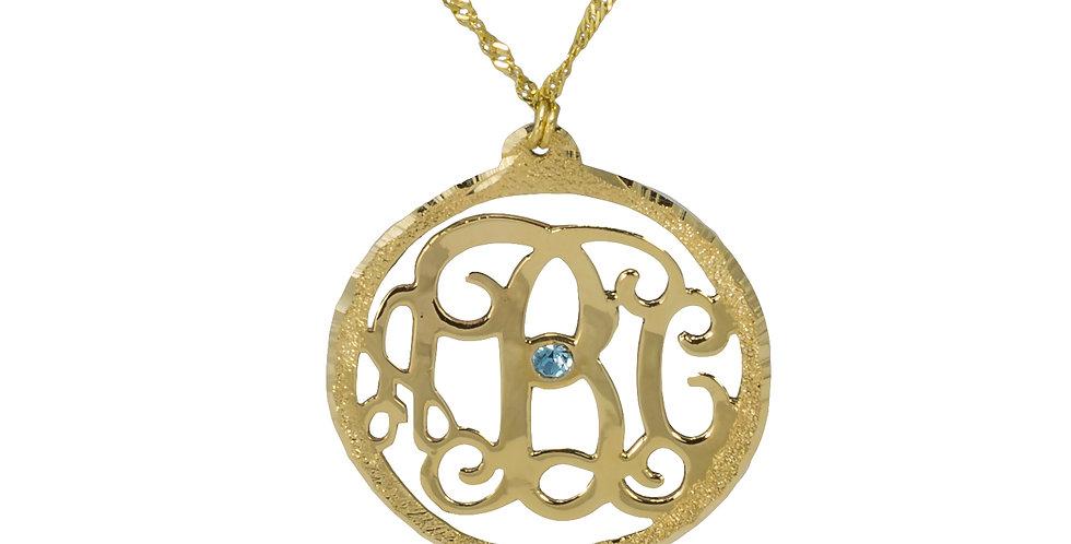 Personalized 18K Gold Plated Monogram Necklace + Swarovski Stone