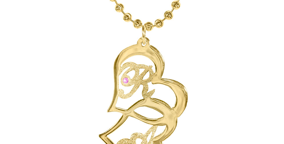 Personalized 18k Gold plated 2 Heart Initials Necklace