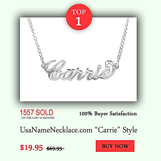 USA Name Necklace, Name Necklace, Personalized Name Necklaces , Carrie Name Necklace