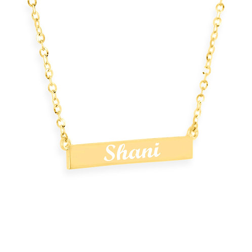 Personalized 14K Gold Bar Name Necklace