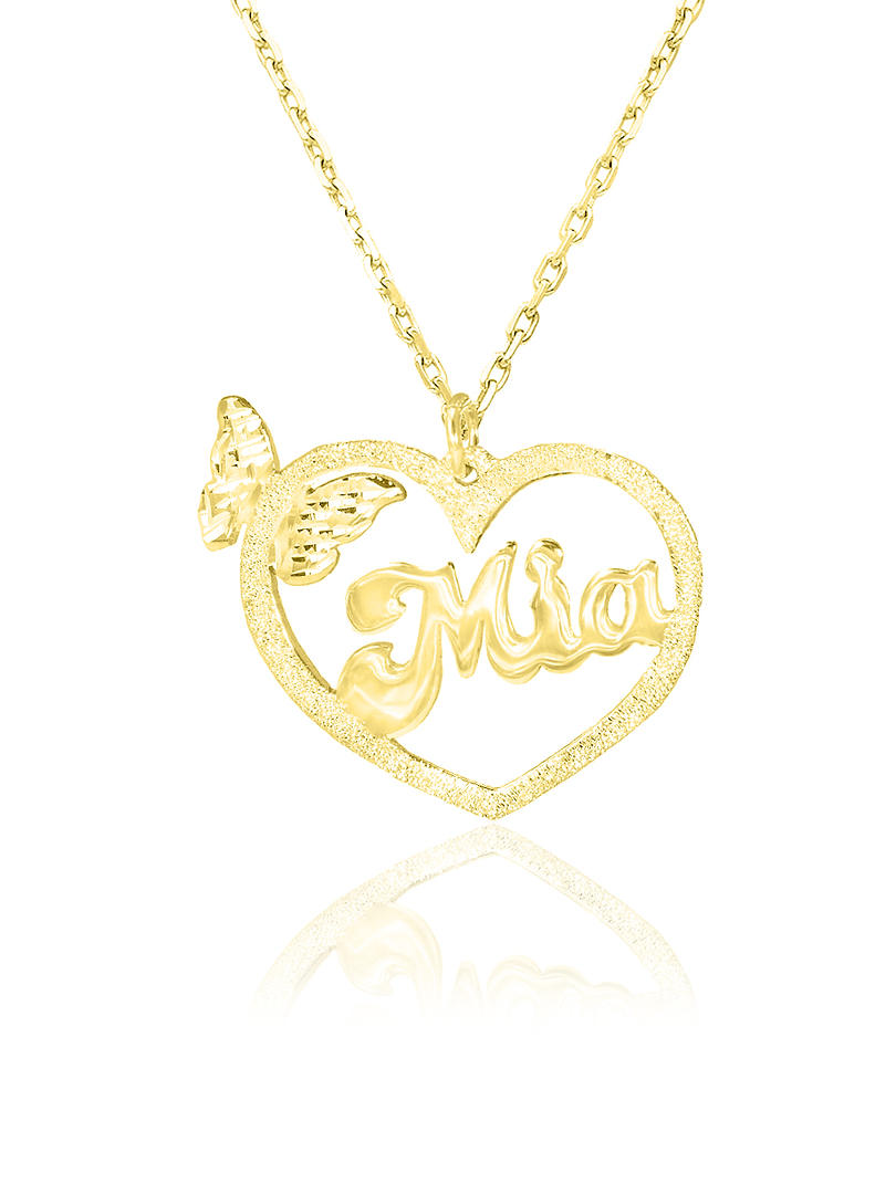 14K Solid Gold Heart Name Necklace