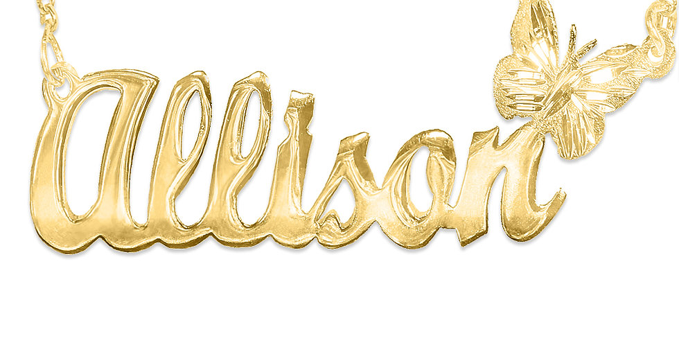 Personalized 18K Gold Plated Butterfly Name Necklace